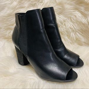 Chinese laundry open toe booties with chunky heel